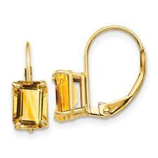 14k 7x5mm Emerald Cut Citrine Leverback Earrings