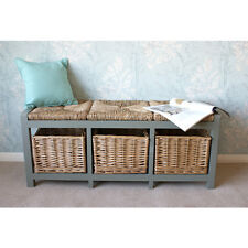 Gloucester 3 Seater Storage Bench in Grey Finish with Wicker Basket Drawers