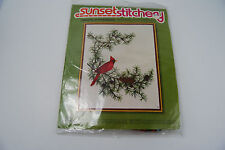 "Sunset Stitchery ""Cardinal in Evergreens"" Embroidery Kit- #2402 - NIP"