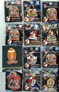 49ers 2016-17 Game Day Pin Choice 6 pins 70th Anniversary San Francisco Niners