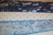 3 x  FAT QUARTER 50 x 55 cm Acufactum toile de jouy blau Quilt Patchwork