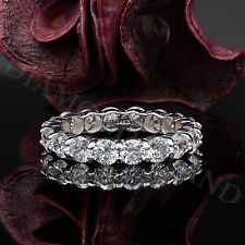 14K White Gold 3.4 Ct Round Brilliant Cut Solitaire Eternity Wedding Band Ring