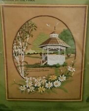 Sunset vintage embroidery kit Summer in the Park #2477 daisies gazebo