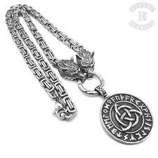 Königskette mit Anhänger Amulett Keltischer Knoten Runen mit Wolfskette Wikinger