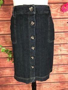 Ann Taylor Skirt 10 Petite Denim Jean Button Front Pockets Straight Knee Stretch