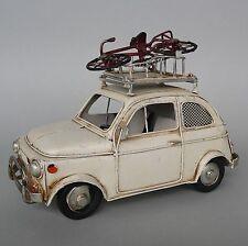 Blechmodell Fiat 500 mit Dachgepäckträger Fahrrad geheime Spardose Bilderrahmen