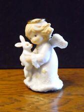 1996 Enesco Angel Holding Bunny Figurine 212709