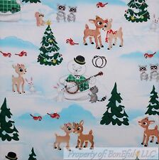 BonEful FABRIC FQ Cotton Quilt Scenic Xmas Tree Rudolph Reindeer Santa Snow*man