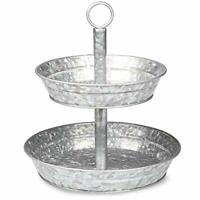 Galvanized Two Tiered Serving Stand - 2 Tier Metal Tray Platter