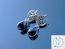 Black Onyx Yin Yang Natural Gemstone 925 Sterling Silver Earrings Quartz Healing