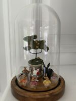 Vintage Lot 11 Collection Of Bunnies With Glass Cloche Display