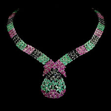 Unheated Marquise Emerald Ruby Sapphire 925 Sterling Silver Necklace 16.5 Inches