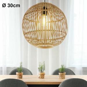 Design Decken Pendel Hänge Lampe Kugel-Form Bambus-Geflecht Wohn Zimmer Leuchte