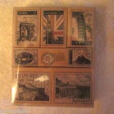 HERO ARTS Tour Deluxe Wood Mount Rubber Stamp Vacation Europe 8 pc Set Britain