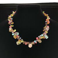 Spring Garden Glass Bead Wire Wrap Choker Necklace