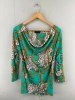 Caroline Morgan Womens Green Animal Print Long Sleeve Casual Blouse Top Size 12