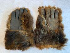 Vintage Brown Bear Hide Fur Fingered Gloves Cloth Lined Large Men's Gloves