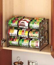 TWO BRONZE 3-Tier Can Organizer.Kitchen Pantry Food Soda Storage Shelf Rack. NEW