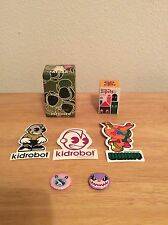 Kidrobot  Lot Designer Vinyl Fatcap mtnmtn 3 Stickers 2 Pins Zipits Sealed New