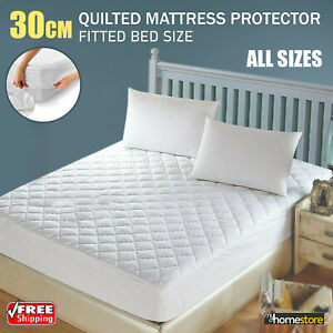 30cm Extra Deep Quilted Mattress Protector Fitted Bed Cover White All Sizes