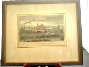 """1835 SIGNED COLORED LITHOGRAPH BY J LE KEUX, """"VIEW OF OXFORD"""""""