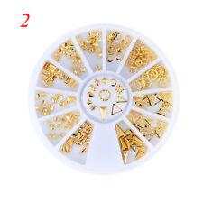 New 3D Gold Alloy Multi-shaped Metal Nail Art Studs Decal DIY Sticker Tips Wheel