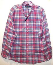 Polo Ralph Lauren Big and Tall Mens Pink Blue Plaid Button-Front Shirt NWT 2XLT