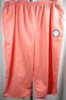 Chic Women's Elastic Waist Plus Size Melon Color Capri Pull On Pants NWT
