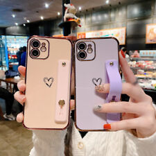 Plating Heart Hand Strap Case Cover For iPhone 12 11 Pro Max Mini XR XS 8 7 Plus