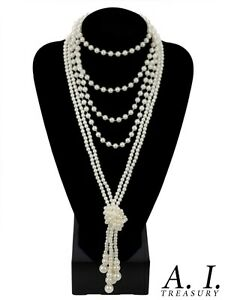 Cream Faux Pearl Necklace Long Beads Vintage Bridal 1920s 20s