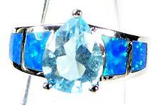 Silver 925 SF Size 8 Ring Blue Lab Fire Opal & 9*7mm Teardrop Aquamarine