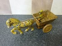 VINTAGE TINPLATE CLOCKWORK M.A.R.X  PONY & CART WITH DRIVER MADE IN GT. BRITAIN
