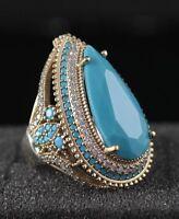 925 Sterling Silver Handmade Gemstone Turkish Turquoise Ladies Ring Size 7-9