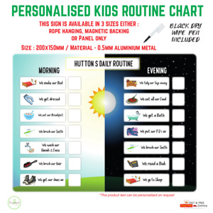 Kids daily routine chart, MORNING, EVENING, toddler chart