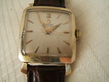 14K GOLD FILLED OMEGA WRIST WATCH SQUARE AUTOMATIC CAL 470