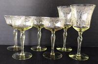 Vintage Uranium Glass Etched Goblets Topaz Yellow Vaseline Depression Glass