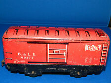 MARX Marlines Lithographed TIN TRAIN BOX CAR B&LE 90171 Bessiemer  Red