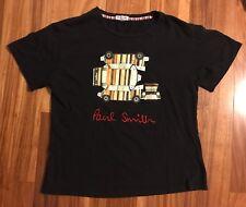 Vintage Paul Smith Black T-Shirt Striped Mini Cooper Car Signature Logo S RARE