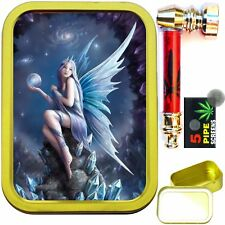 CRYSTAL FAIRY 2oz GOLD TOBACCO TIN & METAL SMOKING PIPE WITH FILTER SCREENS