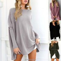 US Womens Ladies Dolman Sleeve Sweater Loose Oversized Knit Jumper Pullover Tops