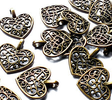 20 Filigree Love Heart Charms Pendant Bronze Tone Metal 15mm Jewellery Valentine