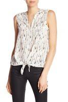 Joie Edalette Ivory Arrow Printed Silk Tie Button Front Tank Top Blouse Size XS