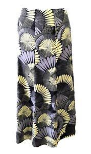 WINDSDMOOR Size 20 Retro Fan print Black Yellow Full circle flare lined skirt UK