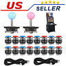 2 Player Arcade DIY Kit Game USB Controller Joystick LED Lighted Push Button Hot