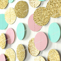 3M Glitter Circle Polka Dots Paper String Garland Wedding Birthday Bunting Décor