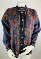 Vintage Medium Womens Merino Wool Floral Grandma Cardigan Sweater Gold Buttons