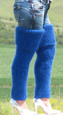 WOOL & MOHAIR hand knitted ROYAL BLUE gaiters LEGWARMERS legging spats Unisex 11