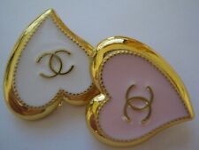 New listing Chanel 2 Pink white Buttons sz 20 X 21 mm Gold Tone Cc Logo, 2 pc Adorable