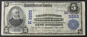 $5 Ch# 3293 Grand Rapids Nat'l Bank of GRAND RAPIDS, MI - VF 1902 Plain Back