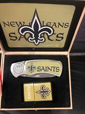 football team new orleans saints logo knife and lighter set